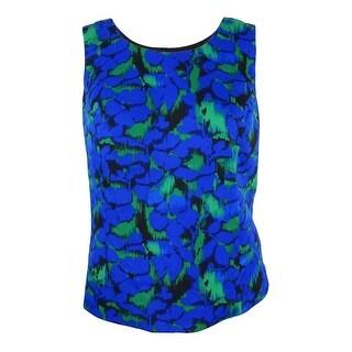 Kasper Women's Plus Size Floral-Print Shell Top - celeste multi
