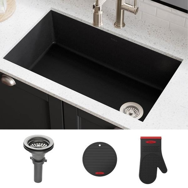 KRAUS Forteza Granite 32 inch 1-Bowl Undermount Kitchen Sink. Opens flyout.