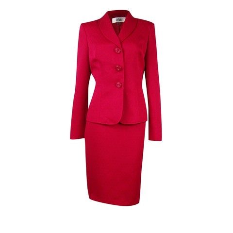 Le Suit Women's Textured 3-Button Skirt Suit - Azalea