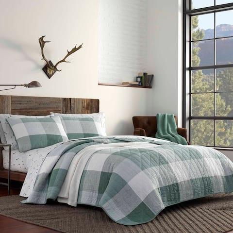Eddie Bauer Boulder Plaid Cotton Green Quilt Set