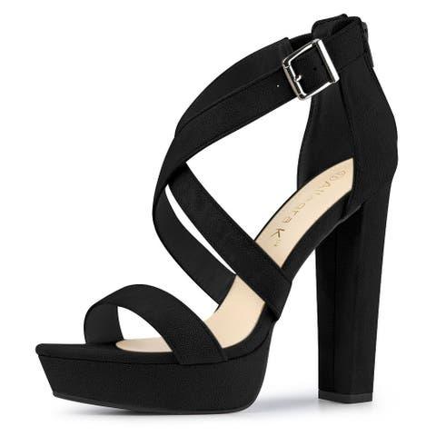 Women's Ankle Crisscross Platform Heel Sandals