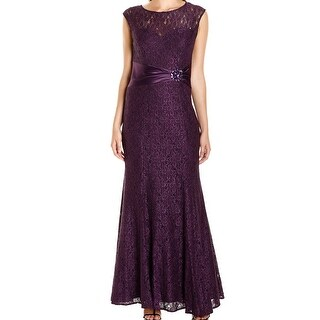 Alex Evenings NEW Purple Womens Size 16 Shimmer Lace Brooch Gown Dress
