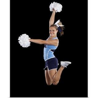 """Studio shot of cheerleader jumping"" Poster Print"