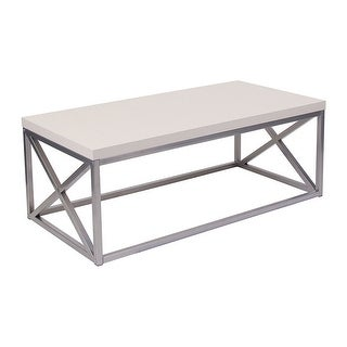 Offex Contemporary Cream Coffee Table with Silver Finish Frame