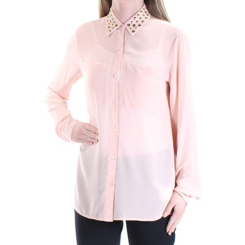 MICHAEL KORS Womens Pink Embellished Cuffed Collared Button Up Top Size: XS