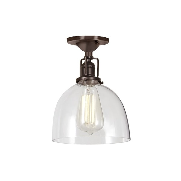 """JVI Designs 1202-08-S5 Union Square 1 Light Semi-Flush 9.75"""" Tall Ceiling Fixture with Clear Mouth-Blown Glass Shade"""