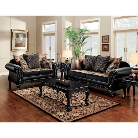 Furniture of America Chateau Traditional Black 2-piece Sofa Set