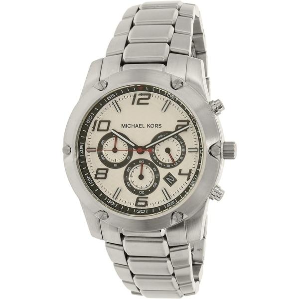 05c75bd763d8 Michael Kors Men  x27 s Caine Silver Stainless-Steel Quartz Dress Watch