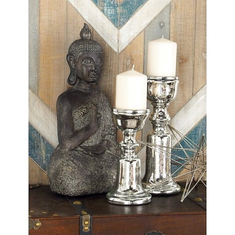 Silver Orchid Olivia Glass Candle Holder (Set of 2)