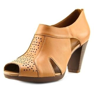 Clarks Jovelyn Hollis Women Peep-Toe Leather Tan Bootie