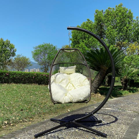 Indoor / Outdoor Patio Wicker folding Hanging Chair,Rattan Swing Hammock Egg Chair with C Type bracket with cushion&pillow