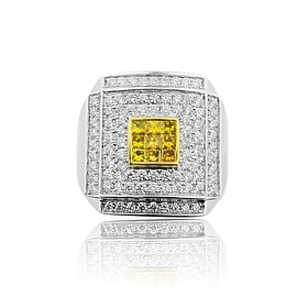 14K White Gold Mens Pinky Fashion Ring 1.4cttw Diamonds Princess Cut Yellow Size 7 (i1/i2, h/i) By MidwestJewellery