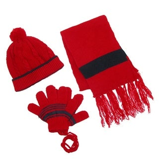 CTM® Toddlers Twisted Hat Gloves on a String and Scarf Set - One Size