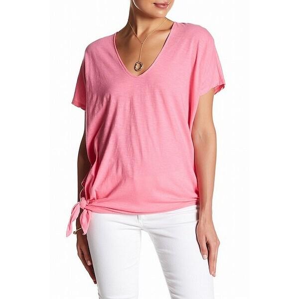 56ea9dcdd56d5 RDI Pink Pop Women's Size Medium M Knit Tie V-Neck Tee T-Shirt