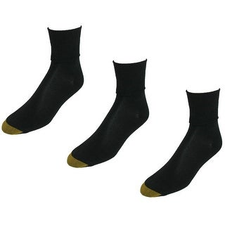 Gold Toe Women's Plus Size Cotton Turn Cuff Ankle Socks (Pack of 3), Shoe Size 8 - 13