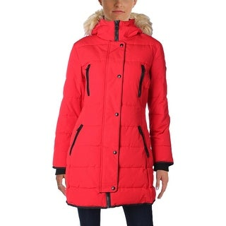 Guess Womens Parka Quilted Textured Insets