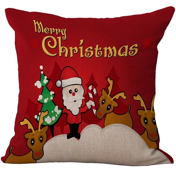 ChezMax Linen Cotton Xmas Home Decorative Bed Drawing Living Room Chair Back Cushion Cover Throw Pillow Case Decor Pillowslip