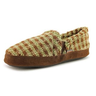Acorn Kids Colby Gore Youth Round Toe Canvas Brown Slipper