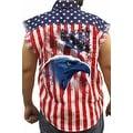 Men's Biker USA Flag Sleeveless Denim Shirt Bald Eagle Amrican Icon Stars/Stripes - Thumbnail 0