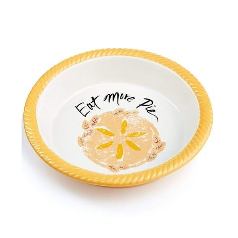 "Martha Stewart Collection Stoneware Plate Eat More Pie Baking Dish - Orange - 10"""