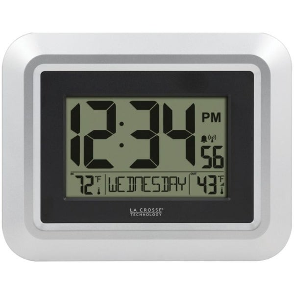 La Crosse Technology 513-1918S-INT Atomic Digital Wall Clock with Indoor/Outdoor Temperature. Opens flyout.