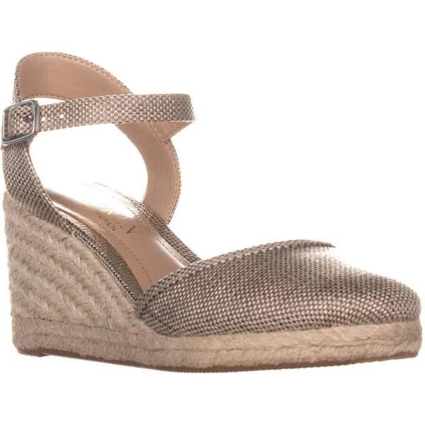 ce397541d Lauren Ralph Lauren Hayleigh II Espadrille Wedge Sandals, Silver - 5.5 US /  36.5 EU