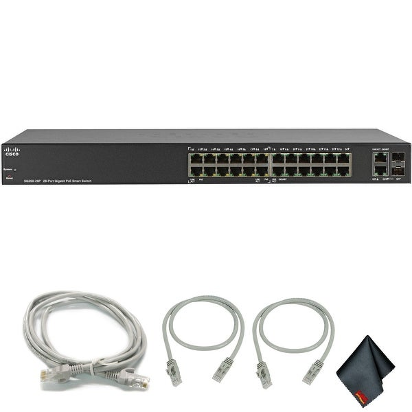 Cisco SG200-26P 26-Port 10/100/1000 Gigabit PoE Smart Switch with Extra Cat5 Cables (1-Pack)