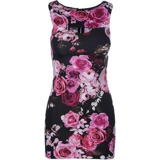 Aqua Womens Floral Print Cut-Out Mini Dress