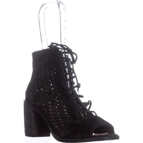 Vince Camuto Trevan Cutout Lace Up Ankle Boots, Black - 6.5 us / 36.5 eu