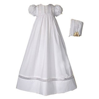 Baby Girls White Poly Cotton Organza Accents Bonnet Christening Dress Gown