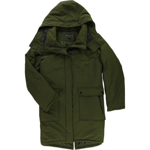 French Connection Womens Down Parka Coat, green, XX-Large