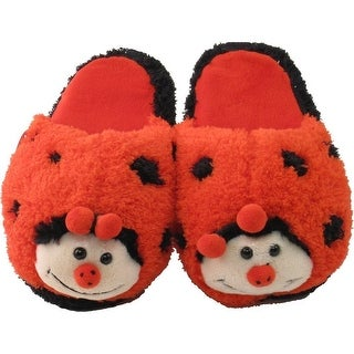 Kreative Kids Little Girls Red Black Lady Bug Shaped Plush Slippers 12 Kids