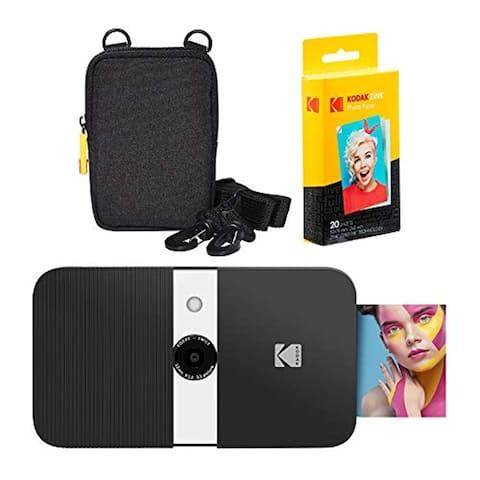 KODAK Smile Instant Print Digital Camera (Black/ White) Soft Case Kit