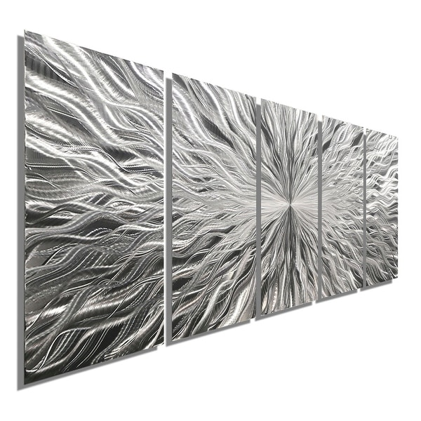 Statements2000 Silver 5 Panel Modern Metal Wall Art Sculpture By Jon Allen    Vortex 5P
