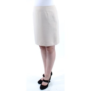 Womens Beige Above The Knee A-Line Wear To Work Skirt Petites Size 10