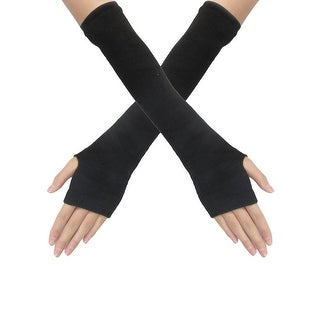 Unique Bargains Black Stretchy Fingerless Thumbhole Arm Gloves Pair for Ladies