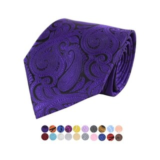Men's Paisley 100% Microfiber Poly Woven Wedding Neck Tie - regular (Option: Silver)