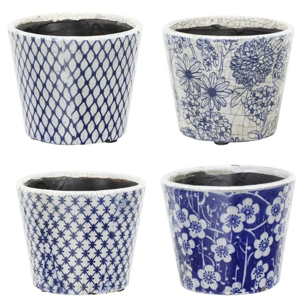 "Set of 4 Blue and White Garden Floral Terracotta Large Planters 7.5"" - N/A"