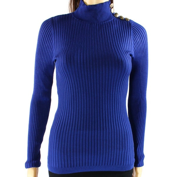 INC NEW Blue Womens Size Medium M Button-Detail Ribbed Mock-Neck Sweater