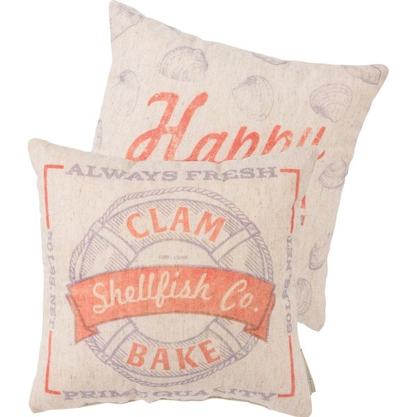 Clam Bake Shellfish Company Feedsack Accent Throw Pillow 12 Inches