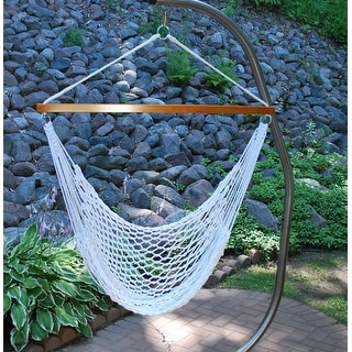 Shop 48 X 47 Hanging Rope Hammock Chair White Overstock 22694841