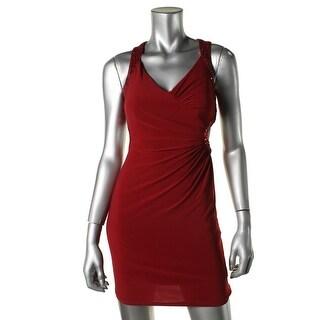 Hailey Logan by Adrianna Papell Womens Juniors Halter Cut-Out Semi-Formal Dress - 1/2
