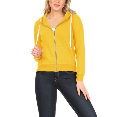 Women's Long Sleeve Casual Lightweight Front Pockets Solid Hoodie