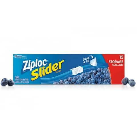 Ziploc 02204 Slider Storage Bags with Smart Zip Seal, Gallon/Large, 15-Count