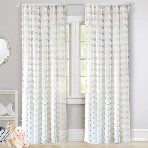 DriftAway Olivia White Voile Chiffon Sheer Window Curtain Panel Pair
