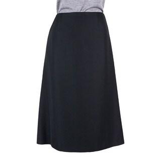 Maison Margiela Womens Black Wool Pockets Mid Length Skirt