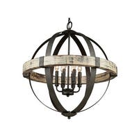 "Artcraft Lighting AC10016 Castello 6-Light Wood Globe Chandelier - 27"" Wide - aspen wood/black - n/a"