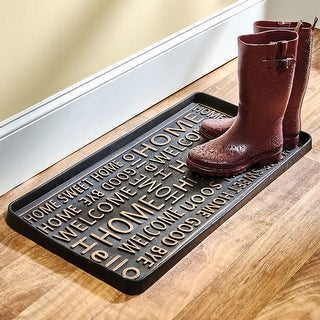 """Hello Good-Bye Boot and Shoe Tray - Large Rubber Floor Protector - 32"""" x 16"""" - 32 in. x 16 in."""