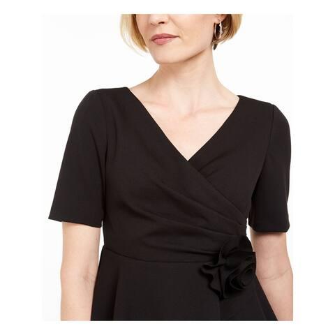ADRIANNA PAPELL Womens Black Ruffled Short Sleeve V Neck Top Size 4P