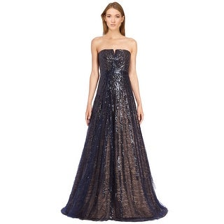 Rene Ruiz Linear Sequin Strapless Evening Ball Gown Dress